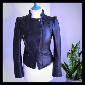 Genuine Leather Laundry by Shelli Segal Moto Jacke